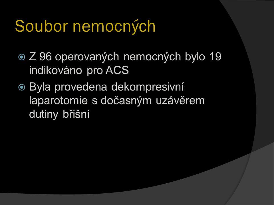 Soubor nemocných  Z 96 operovaných nemocných bylo 19 indikováno pro ACS  Byla provedena dekompresivní laparotomie s dočasným uzávěrem dutiny břišní