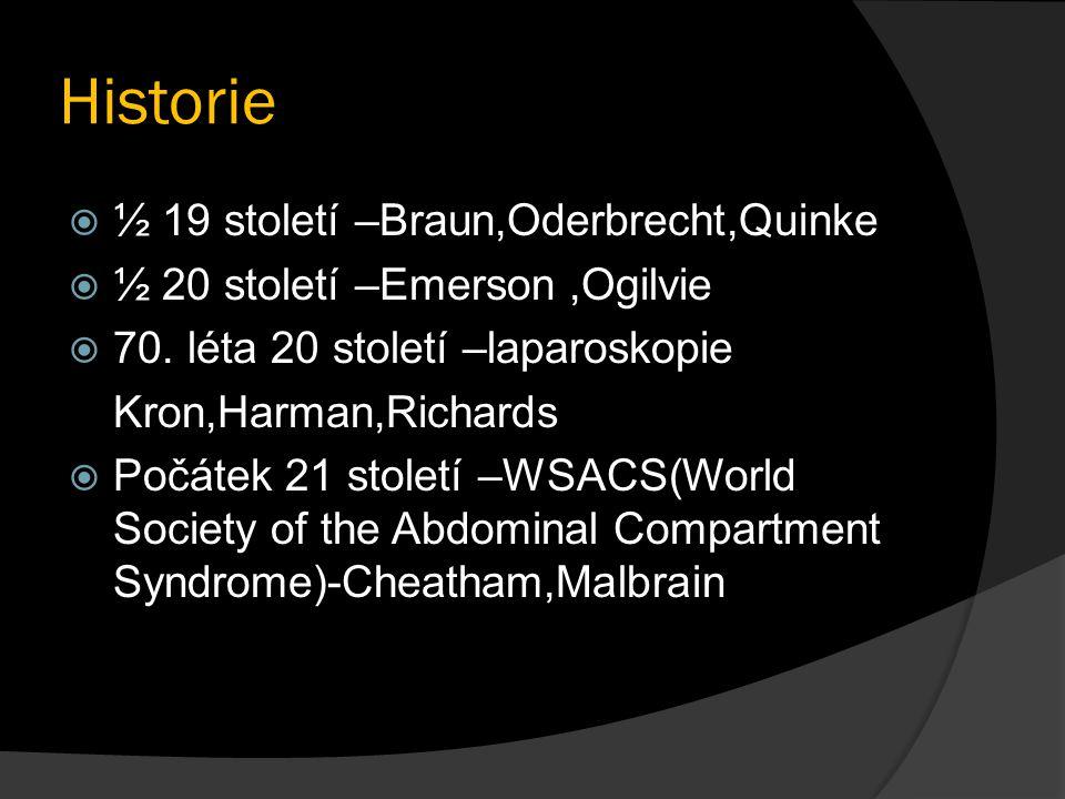 Historie  ½ 19 století –Braun,Oderbrecht,Quinke  ½ 20 století –Emerson,Ogilvie  70. léta 20 století –laparoskopie Kron,Harman,Richards  Počátek 21