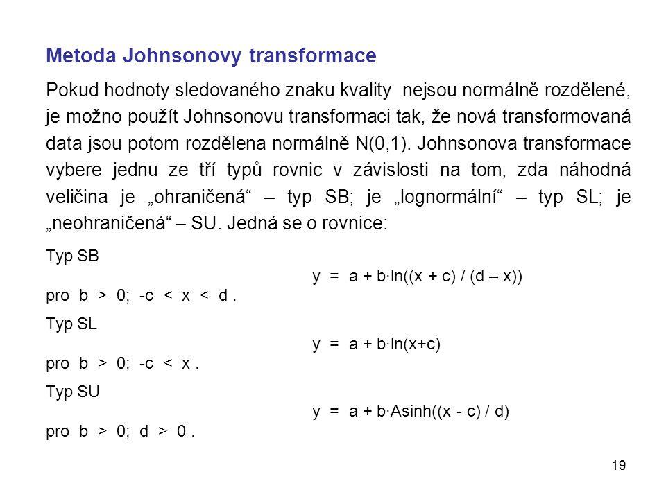 19 Metoda Johnsonovy transformace Pokud hodnoty sledovaného znaku kvality nejsou normálně rozdělené, je možno použít Johnsonovu transformaci tak, že nová transformovaná data jsou potom rozdělena normálně N(0,1).
