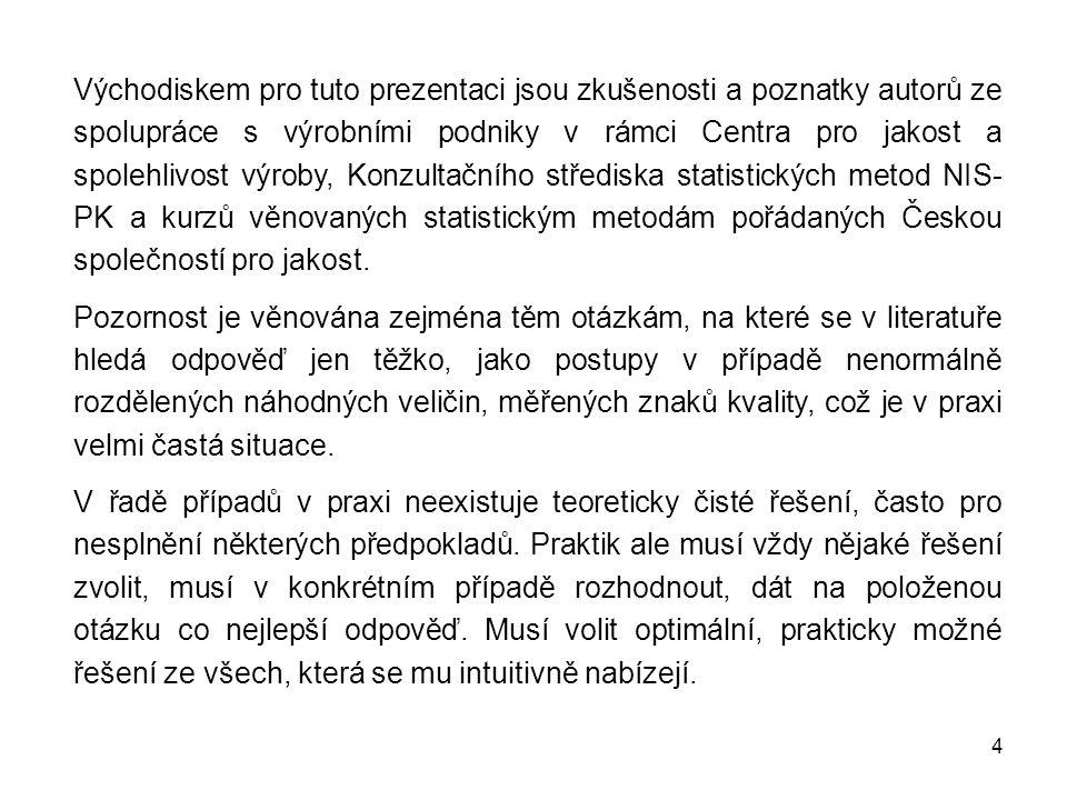 4 Východiskem pro tuto prezentaci jsou zkušenosti a poznatky autorů ze spolupráce s výrobními podniky v rámci Centra pro jakost a spolehlivost výroby, Konzultačního střediska statistických metod NIS- PK a kurzů věnovaných statistickým metodám pořádaných Českou společností pro jakost.