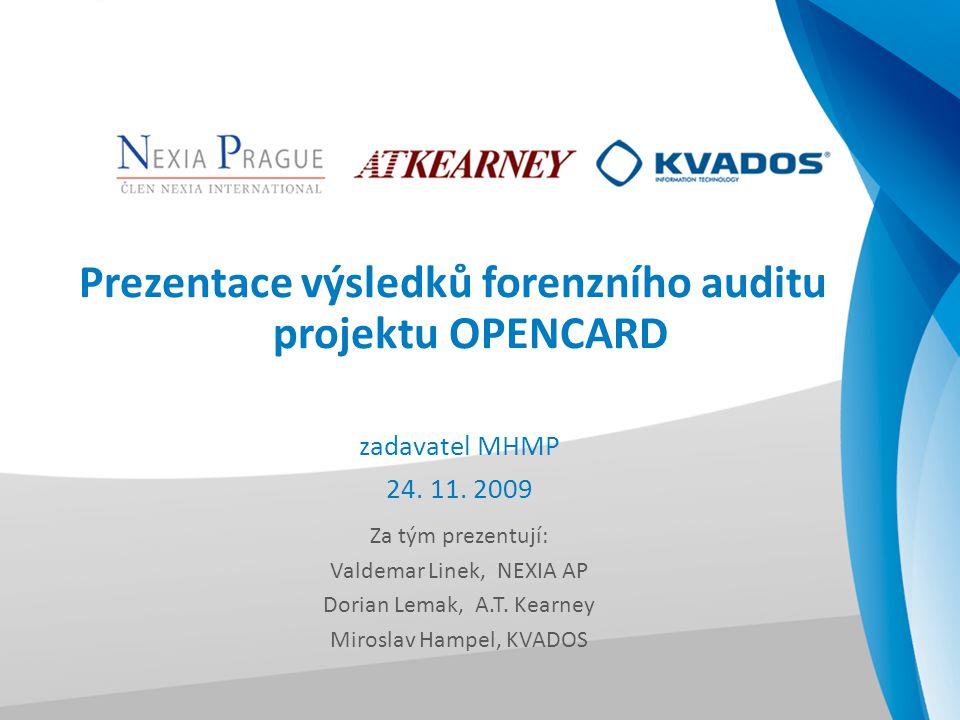 Prezentace výsledků forenzního auditu projektu OPENCARD zadavatel MHMP 24. 11. 2009 Za tým prezentují: Valdemar Linek, NEXIA AP Dorian Lemak, A.T. Kea