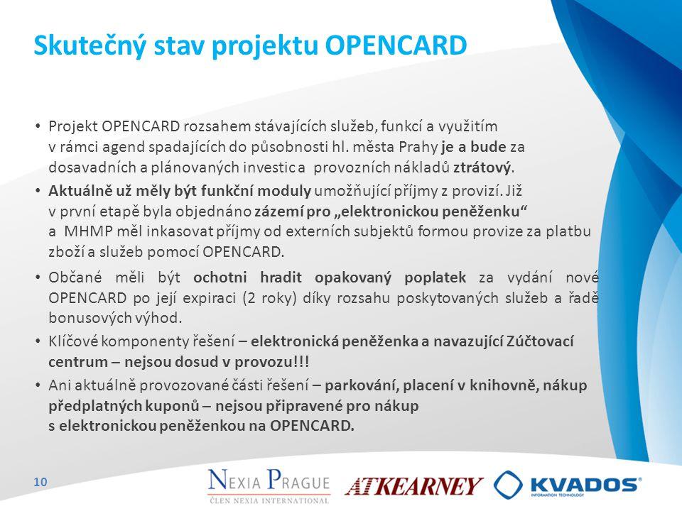 Skutečný stav projektu OPENCARD Projekt OPENCARD rozsahem stávajících služeb, funkcí a využitím v rámci agend spadajících do působnosti hl. města Prah