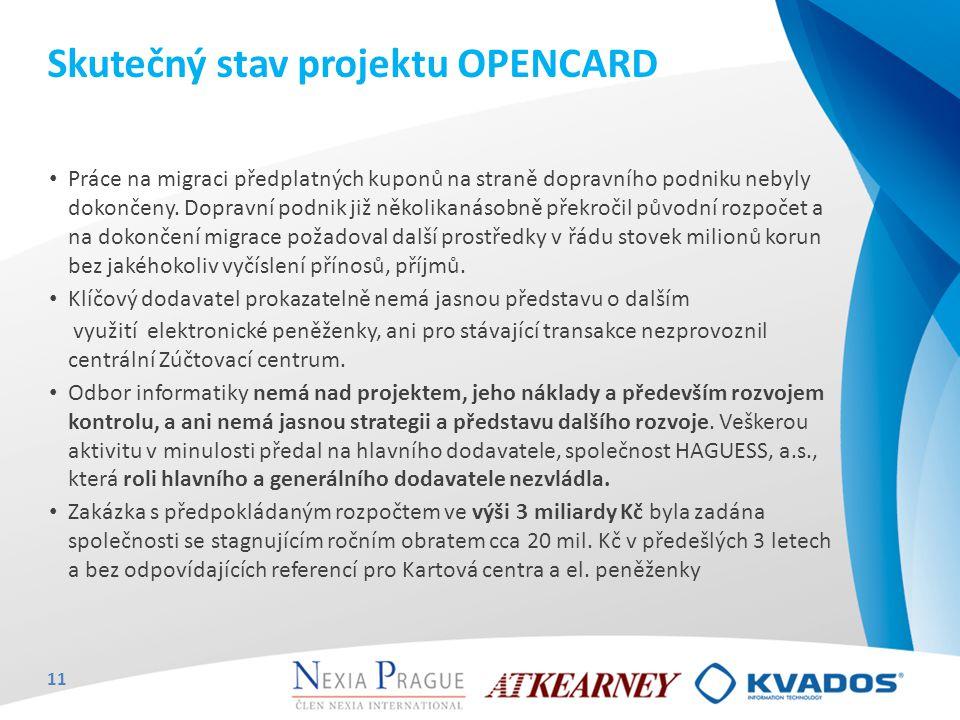 Skutečný stav projektu OPENCARD Práce na migraci předplatných kuponů na straně dopravního podniku nebyly dokončeny. Dopravní podnik již několikanásobn