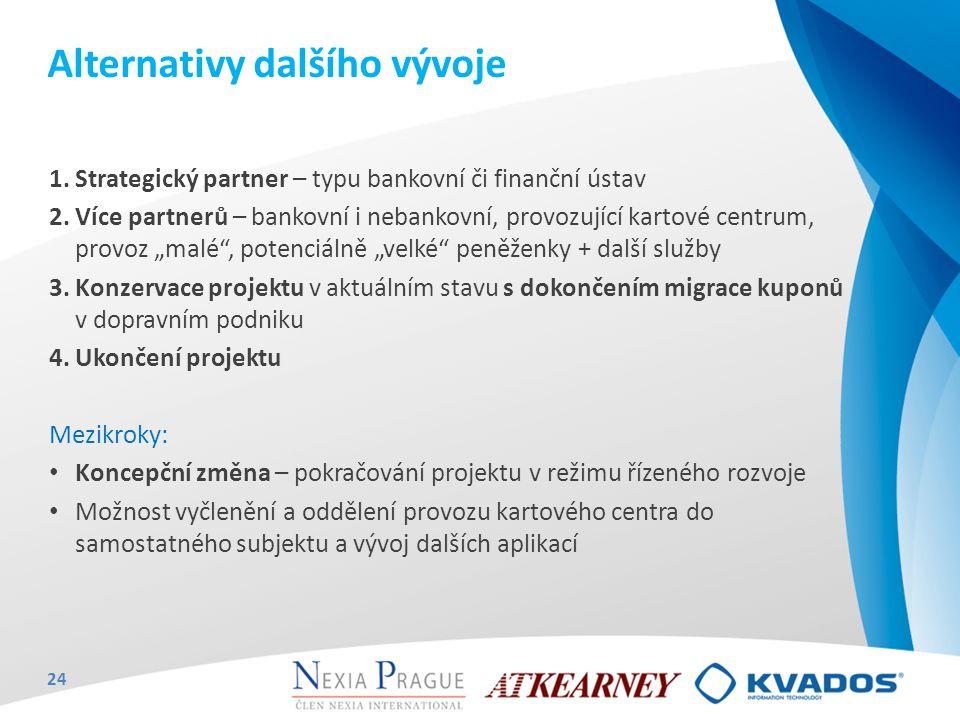 """1.Strategický partner – typu bankovní či finanční ústav 2.Více partnerů – bankovní i nebankovní, provozující kartové centrum, provoz """"malé"""", potenciál"""