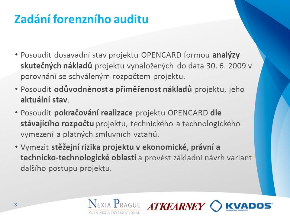 Zadání forenzního auditu Posoudit dosavadní stav projektu OPENCARD formou analýzy skutečných nákladů projektu vynaložených do data 30. 6. 2009 v porov