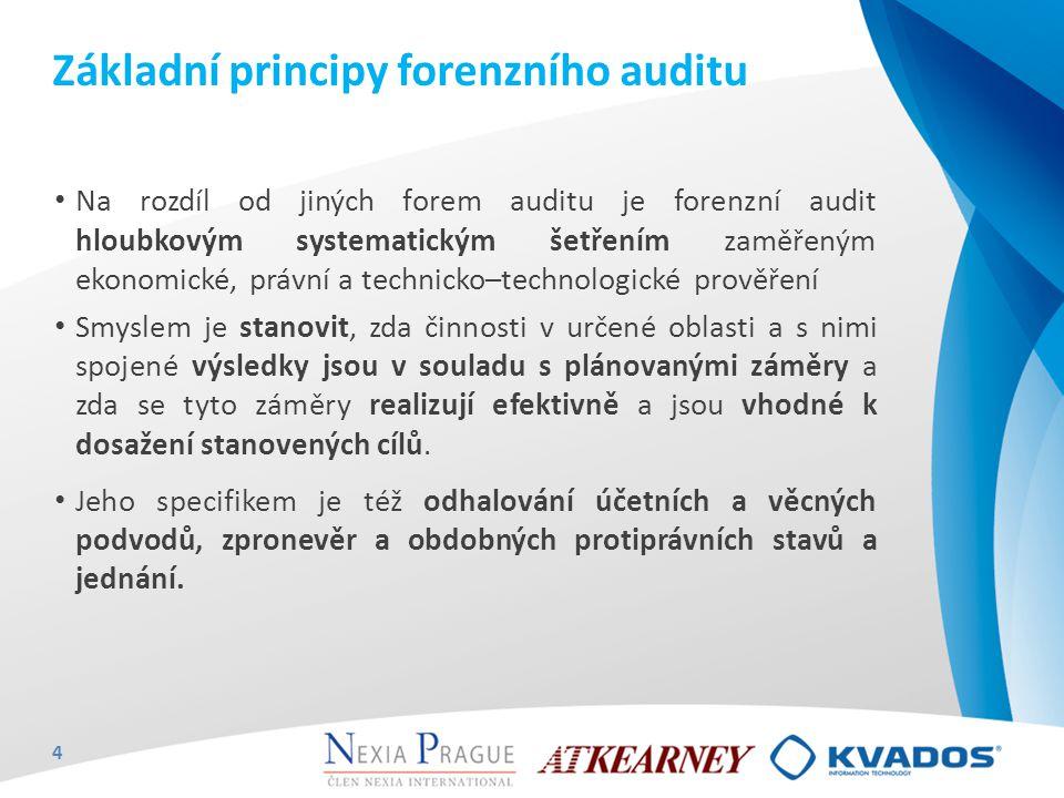 Základní principy forenzního auditu Na rozdíl od jiných forem auditu je forenzní audit hloubkovým systematickým šetřením zaměřeným ekonomické, právní