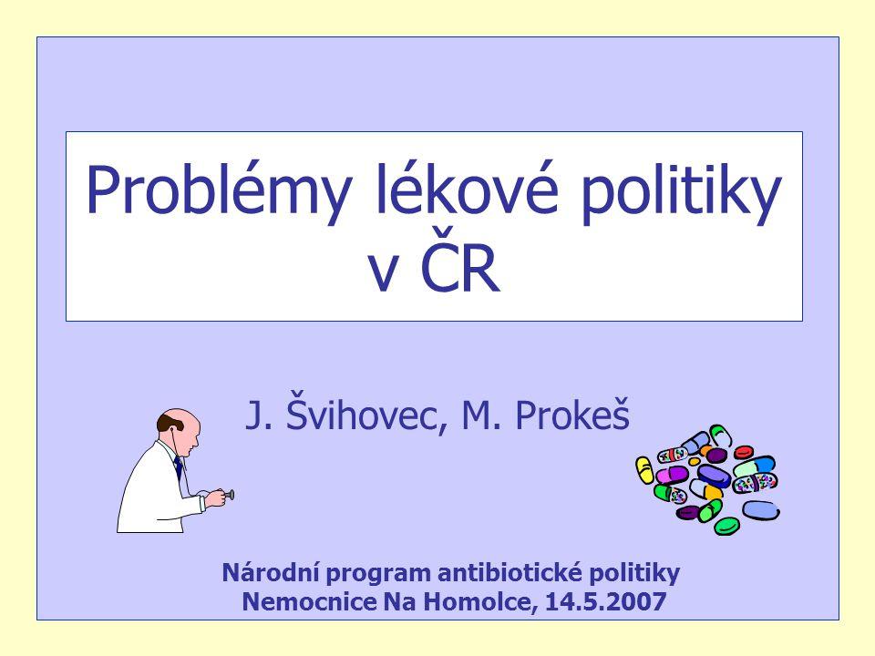 Problémy lékové politiky v ČR J. Švihovec, M. Prokeš Národní program antibiotické politiky Nemocnice Na Homolce, 14.5.2007