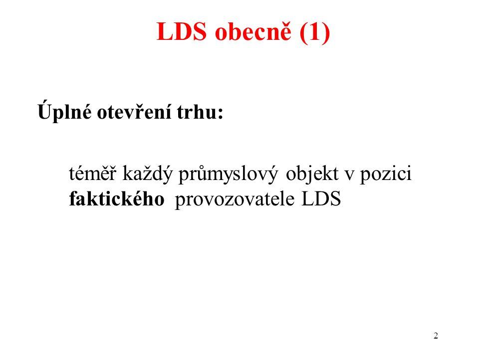 2 Úplné otevření trhu: téměř každý průmyslový objekt v pozici faktického provozovatele LDS LDS obecně (1)