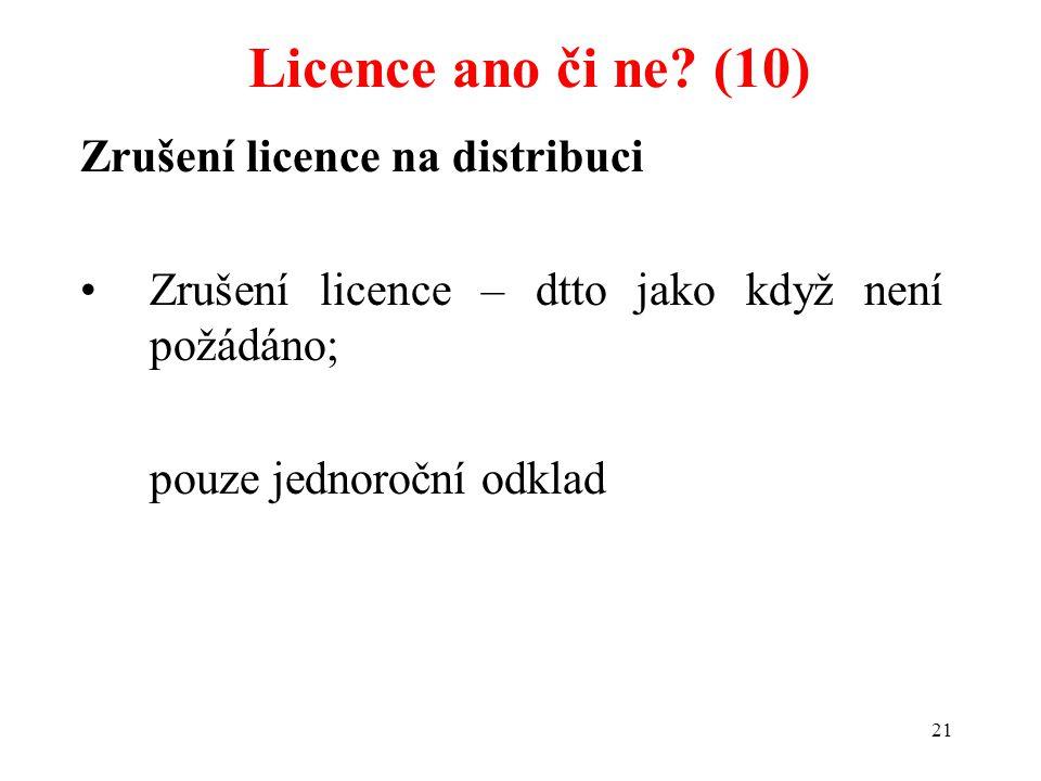 21 Zrušení licence na distribuci Zrušení licence – dtto jako když není požádáno; pouze jednoroční odklad Licence ano či ne? (10)