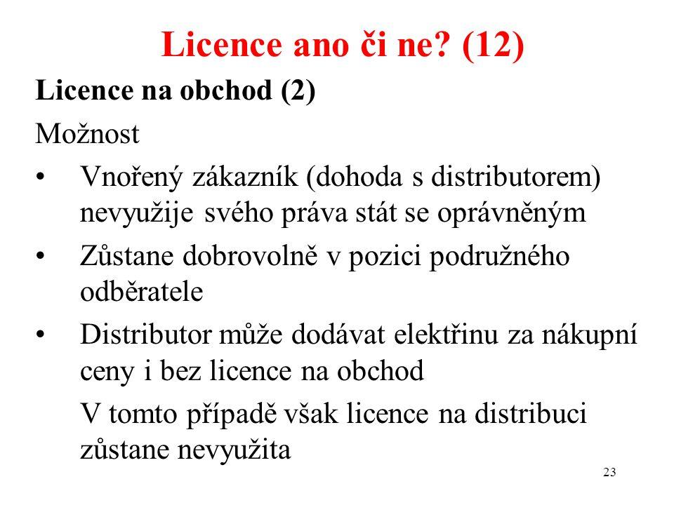 23 Licence na obchod (2) Možnost Vnořený zákazník (dohoda s distributorem) nevyužije svého práva stát se oprávněným Zůstane dobrovolně v pozici podruž