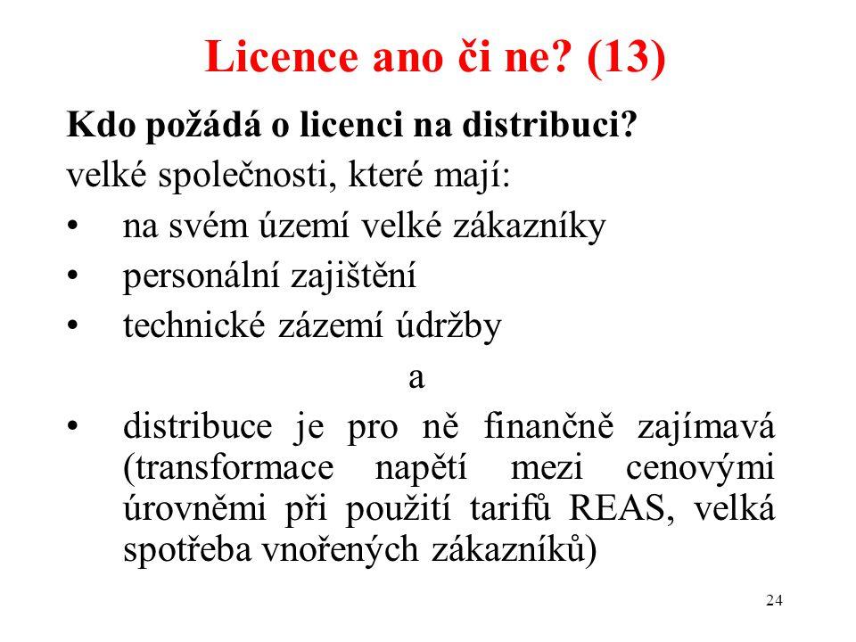24 Kdo požádá o licenci na distribuci? velké společnosti, které mají: na svém území velké zákazníky personální zajištění technické zázemí údržby a dis