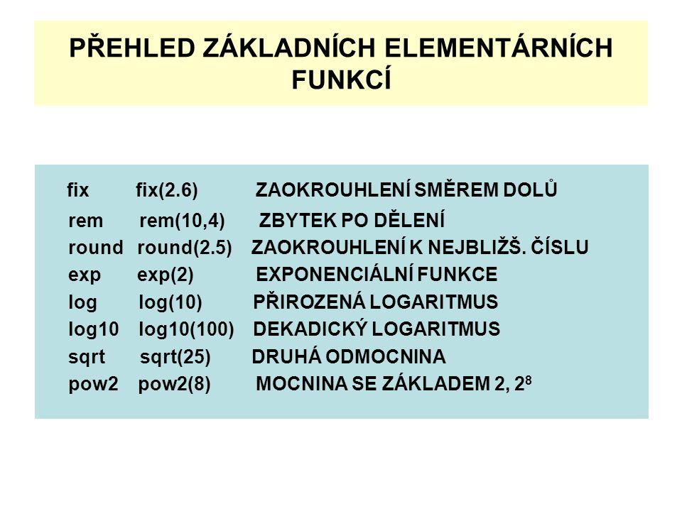 PŘEHLED ZÁKLADNÍCH ELEMENTÁRNÍCH FUNKCÍ fix fix(2.6) ZAOKROUHLENÍ SMĚREM DOLŮ rem rem(10,4) ZBYTEK PO DĚLENÍ round round(2.5) ZAOKROUHLENÍ K NEJBLIŽŠ.