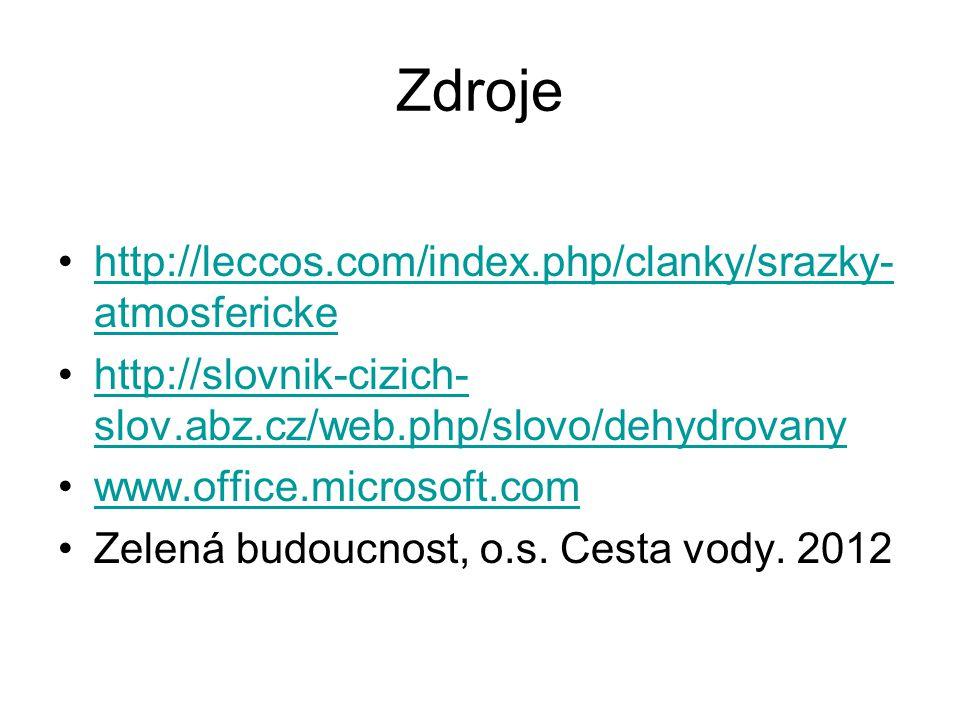 Zdroje http://leccos.com/index.php/clanky/srazky- atmosferickehttp://leccos.com/index.php/clanky/srazky- atmosfericke http://slovnik-cizich- slov.abz.cz/web.php/slovo/dehydrovanyhttp://slovnik-cizich- slov.abz.cz/web.php/slovo/dehydrovany www.office.microsoft.com Zelená budoucnost, o.s.