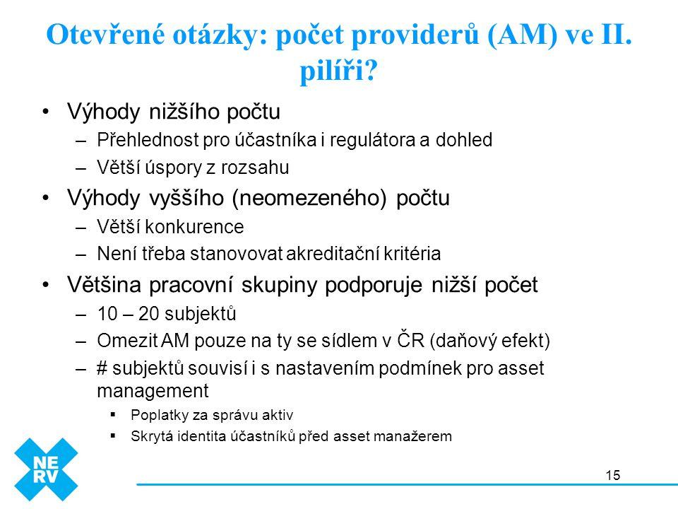 15 Otevřené otázky: počet providerů (AM) ve II. pilíři? Výhody nižšího počtu –Přehlednost pro účastníka i regulátora a dohled –Větší úspory z rozsahu