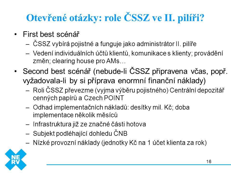 16 Otevřené otázky: role ČSSZ ve II. pilíři? First best scénář –ČSSZ vybírá pojistné a funguje jako administrátor II. pilíře –Vedení individuálních úč