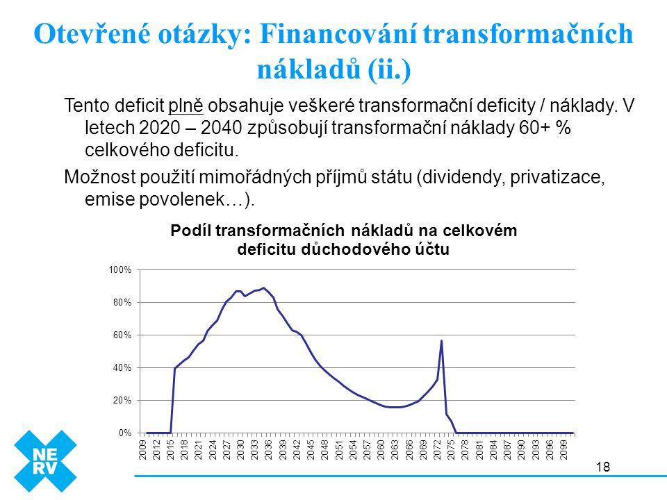 18 Otevřené otázky: Financování transformačních nákladů (ii.) Tento deficit plně obsahuje veškeré transformační deficity / náklady.