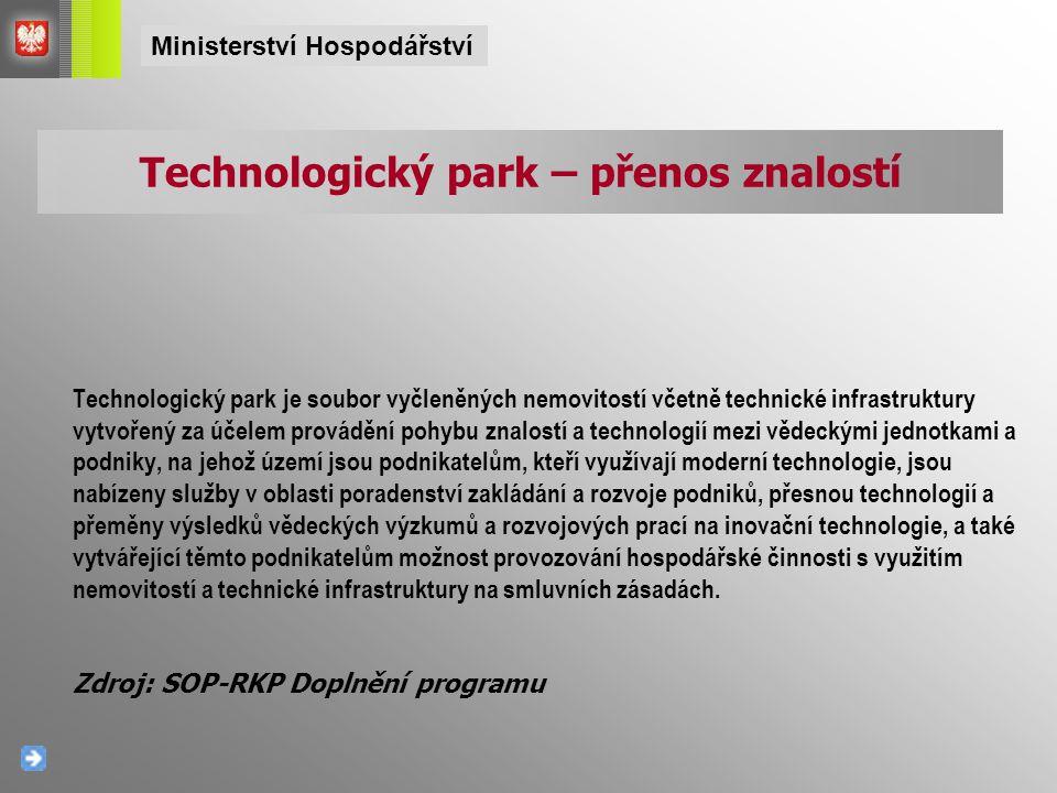 Technologický park je soubor vyčleněných nemovitostí včetně technické infrastruktury vytvořený za účelem provádění pohybu znalostí a technologií mezi