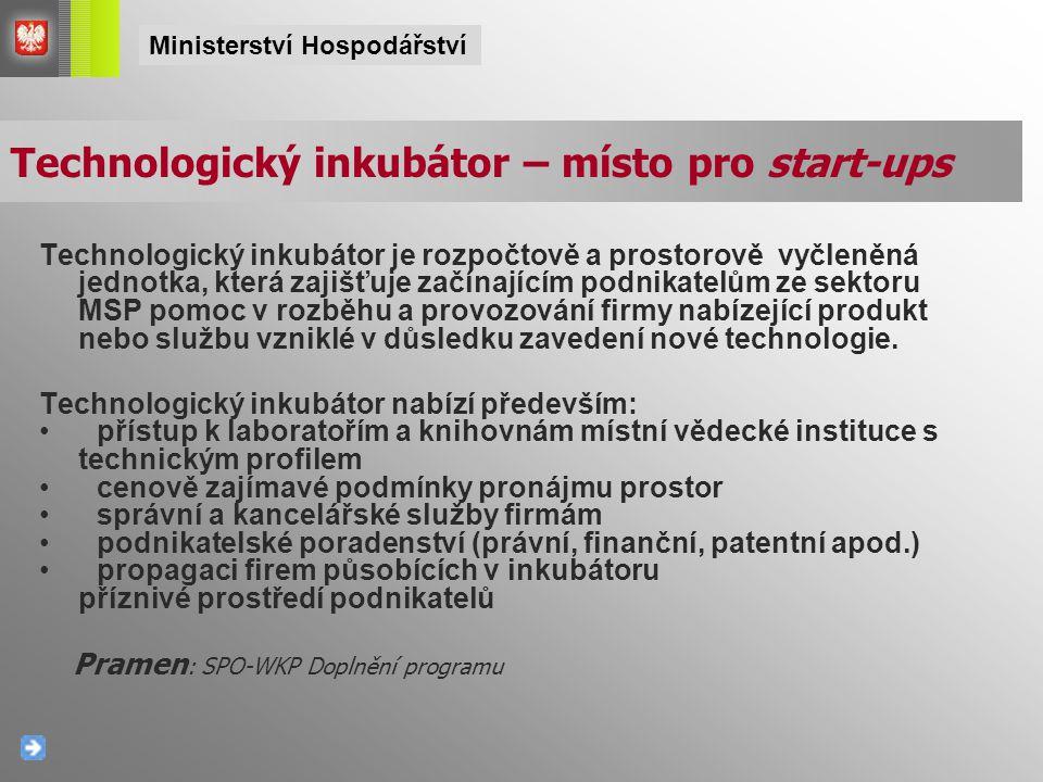 Technologický inkubátor je rozpočtově a prostorově vyčleněná jednotka, která zajišťuje začínajícím podnikatelům ze sektoru MSP pomoc v rozběhu a provo