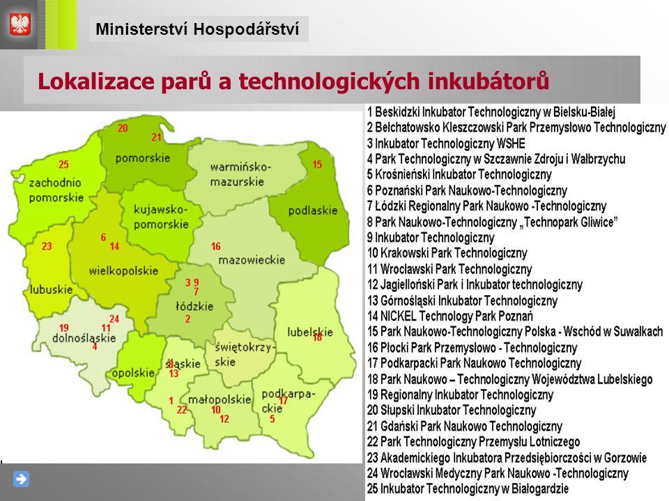 Lokalizace parů a technologických inkubátorů Ministerství Hospodářství