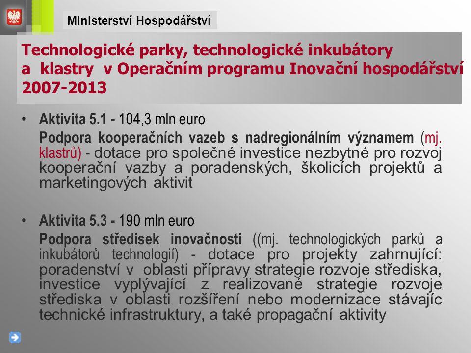 Aktivita 5.1 - 104,3 mln euro Podpora kooperačních vazeb s nadregionálním významem (mj. klastrů) - dotace pro společné investice nezbytné pro rozvoj k