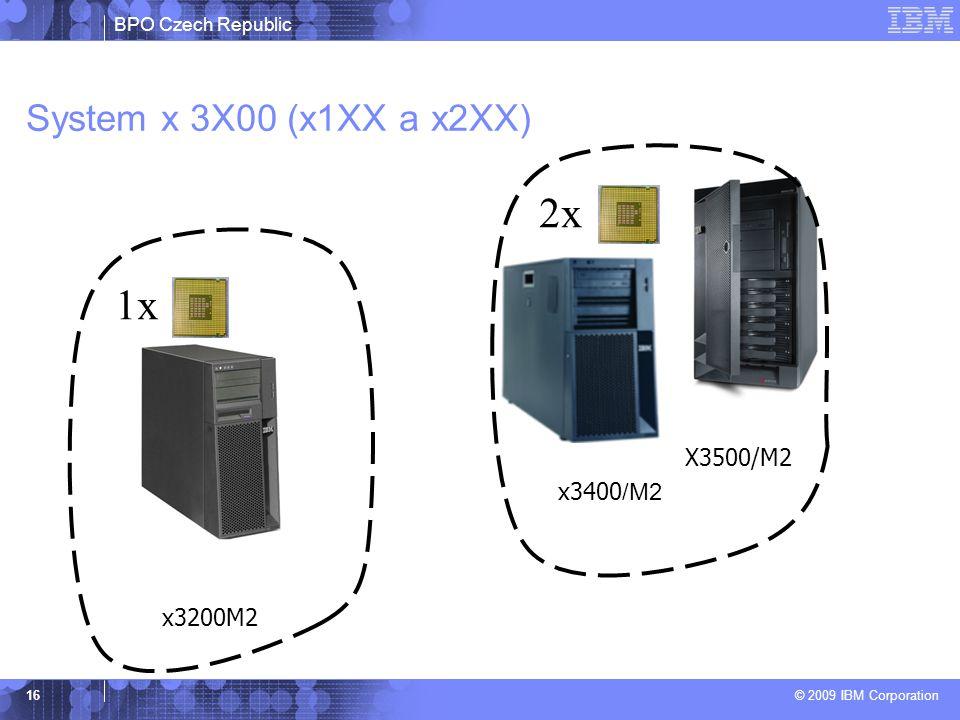 BPO Czech Republic © 2009 IBM Corporation 16 System x 3X00 (x1XX a x2XX) x3200M2 x3400 /M2 X3500/M2 2x 1x