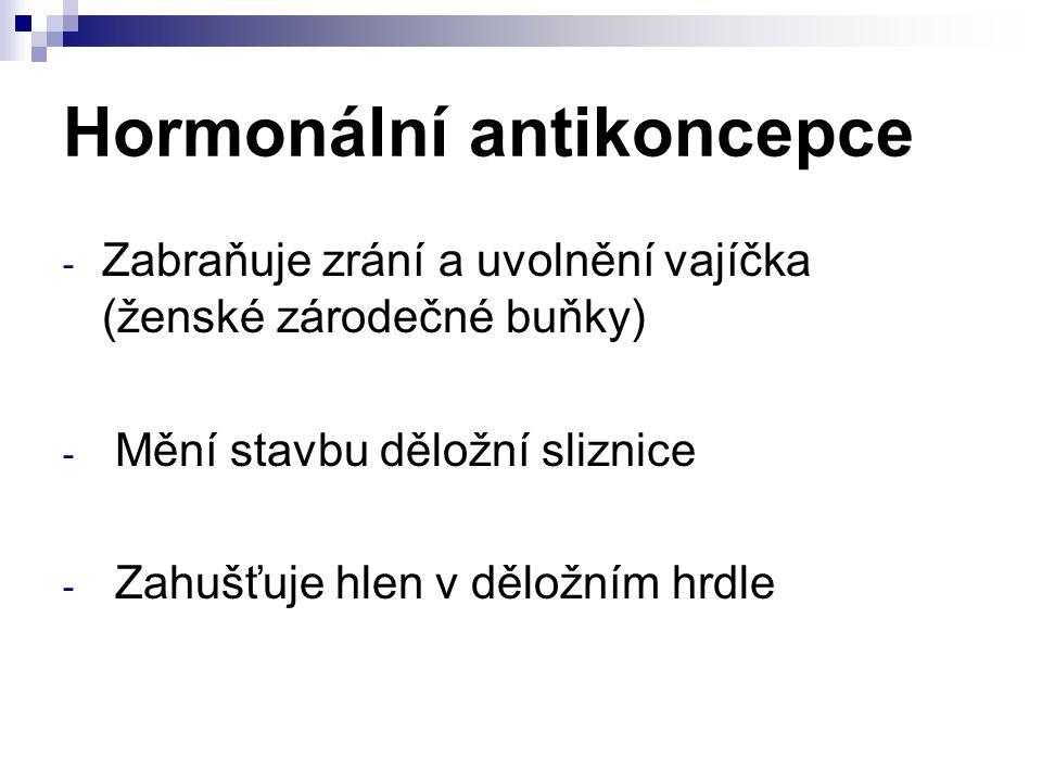 Hormonální antikoncepce - Zabraňuje zrání a uvolnění vajíčka (ženské zárodečné buňky) - Mění stavbu děložní sliznice - Zahušťuje hlen v děložním hrdle
