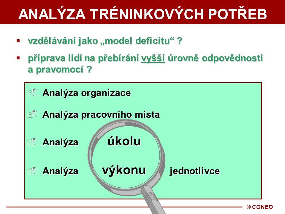  CONEO SYSTEMATICKÝ PŘÍSTUP K TRÉNINKU 1. Analýza tréninkových potřeb 1.