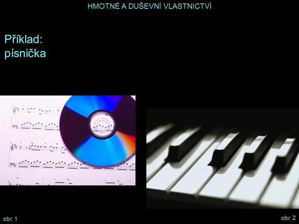 HMOTNÉ A DUŠEVNÍ VLASTNICTVÍ Příklad: písnička elektronické piáno flashdisk počítač nahrávací studio CD obchod peníze časopis duševní vlastnictvíhmotné vlastnictví vypalovací software značka Alfa Soft nahrávka písničky na CD název BerKdeBer fotografie