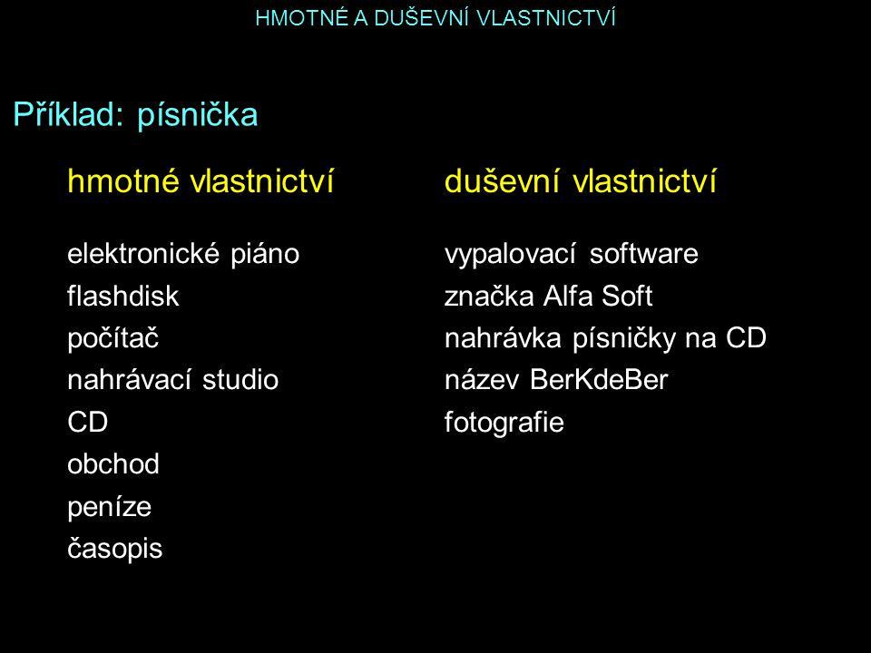 HMOTNÉ A DUŠEVNÍ VLASTNICTVÍ Příklad: písnička elektronické piáno flashdisk počítač nahrávací studio CD obchod peníze časopis duševní vlastnictvíhmotn