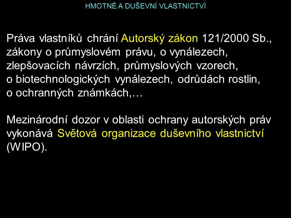 HMOTNÉ A DUŠEVNÍ VLASTNICTVÍ Práva vlastníků chrání Autorský zákon 121/2000 Sb., zákony o průmyslovém právu, o vynálezech, zlepšovacích návrzích, prům