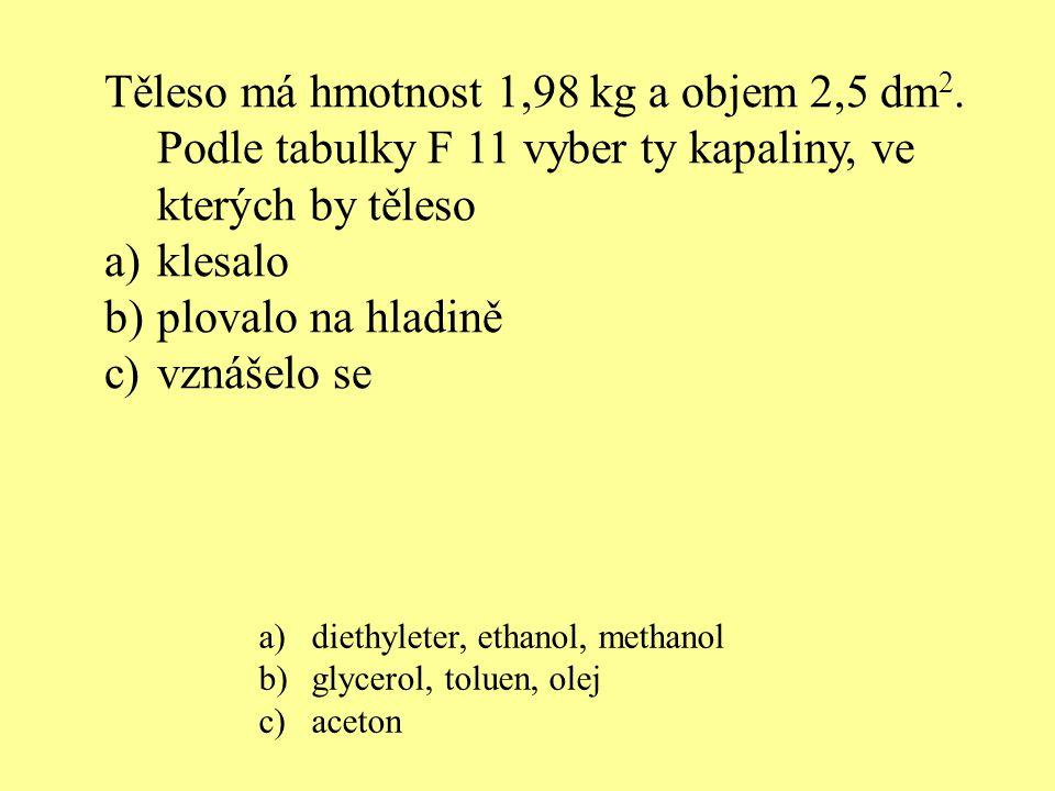 ocelborové dřevo mosazbakelitpryždural glycerol rtuť ethanol olej voda Ve kterých kapalinách by tělesa z daných látek plovala?