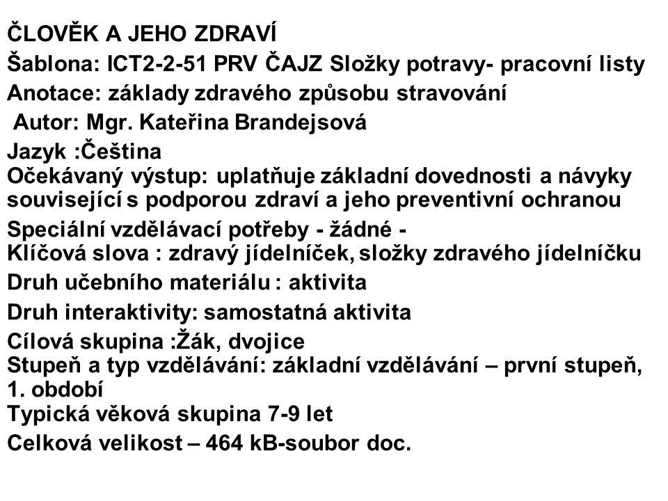 ČLOVĚK A JEHO ZDRAVÍ Šablona: ICT2-2-51 PRV ČAJZ Složky potravy- pracovní listy Anotace: základy zdravého způsobu stravování Autor: Mgr.