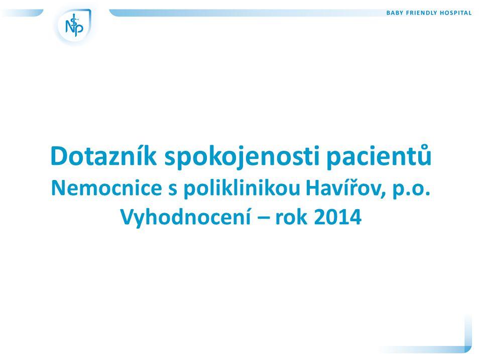 Dotazník spokojenosti pacientů Nemocnice s poliklinikou Havířov, p.o. Vyhodnocení – rok 2014