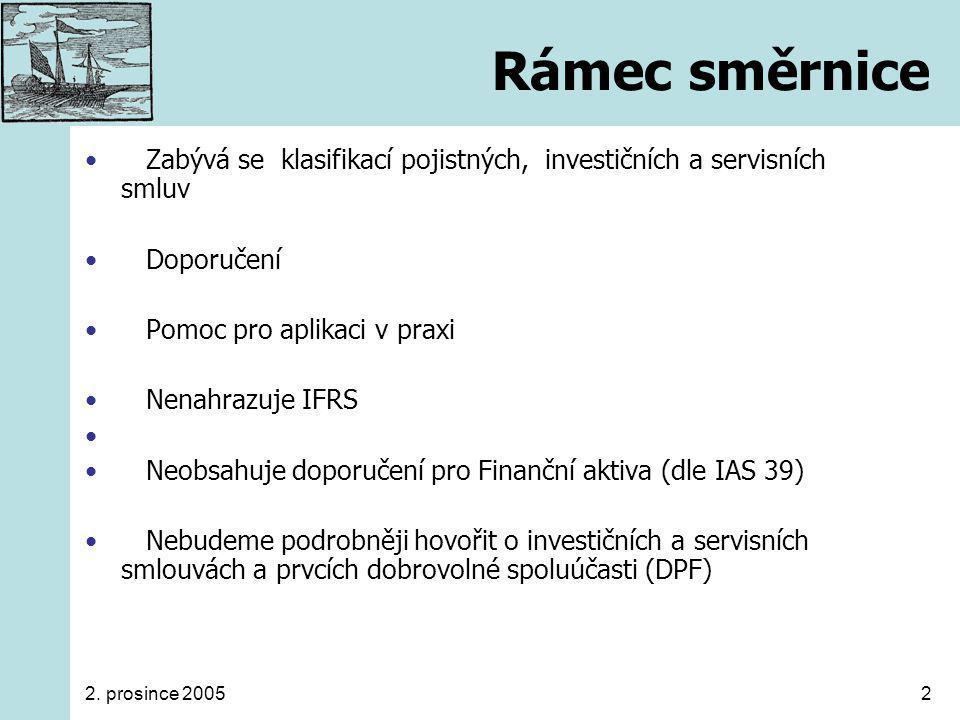 2. prosince 20052 Rámec směrnice Zabývá se klasifikací pojistných, investičních a servisních smluv Doporučení Pomoc pro aplikaci v praxi Nenahrazuje I