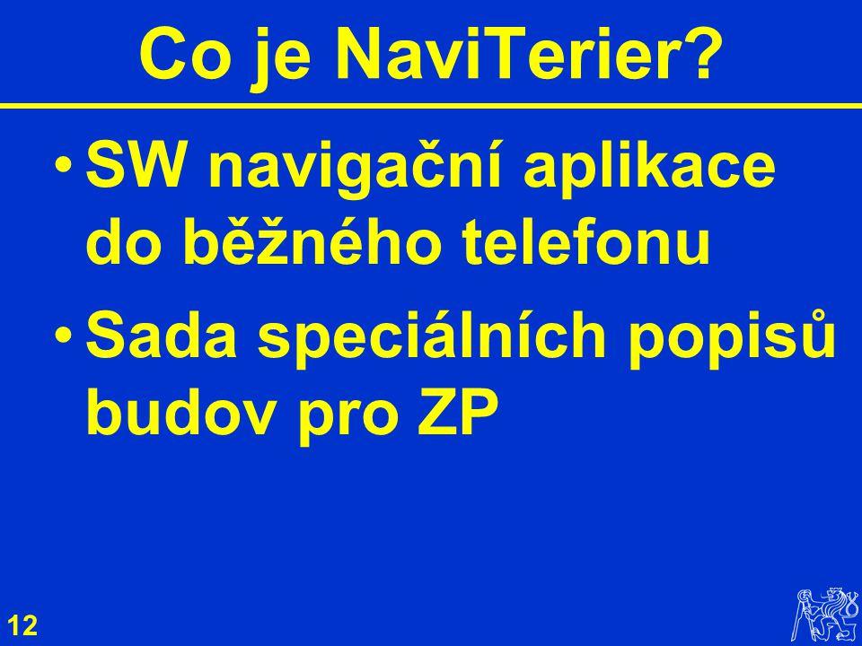 12 SW navigační aplikace do běžného telefonu Sada speciálních popisů budov pro ZP Co je NaviTerier?