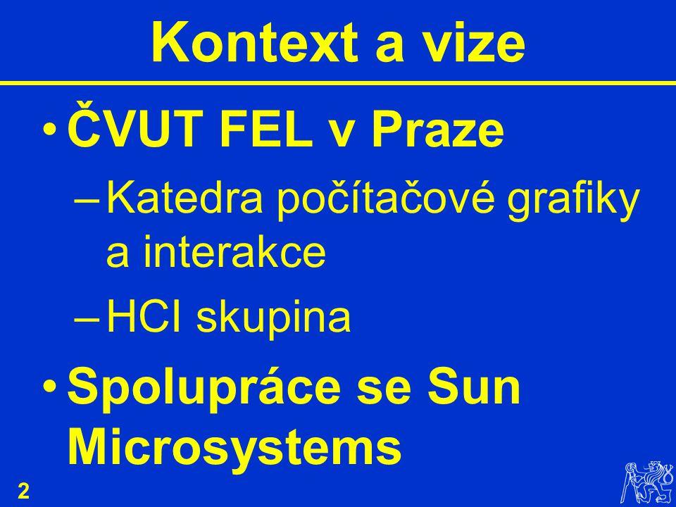 2 Kontext a vize ČVUT FEL v Praze –Katedra počítačové grafiky a interakce –HCI skupina Spolupráce se Sun Microsystems