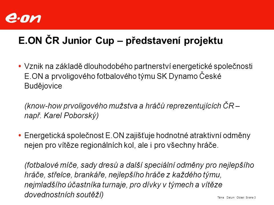 Strana 14Téma Datum Oblast  Finále E.ON ČR Junior Cup 2007 bylo z technických důvodů rozděleno na dvě části: Velké finále (neděle 27.