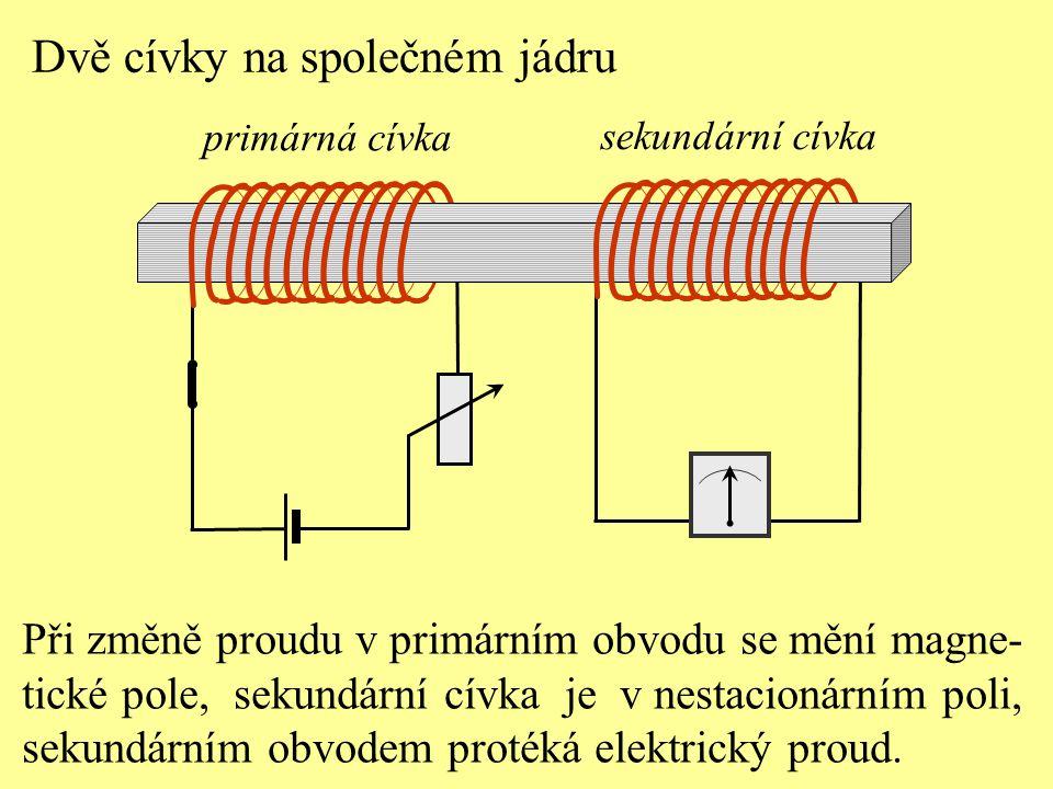 Při změně proudu v primárním obvodu se mění magne- tické pole, sekundární cívka je v nestacionárním poli, sekundárním obvodem protéká elektrický proud