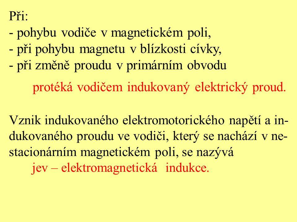 Při: - pohybu vodiče v magnetickém poli, - při pohybu magnetu v blízkosti cívky, - při změně proudu v primárním obvodu protéká vodičem indukovaný elek