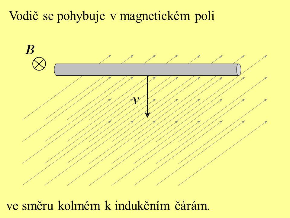 ve směru kolmém k indukčním čárám. Vodič se pohybuje v magnetickém poli