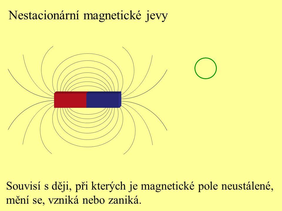 Nestacionární magnetické jevy Souvisí s ději, při kterých je magnetické pole neustálené, mění se, vzniká nebo zaniká.