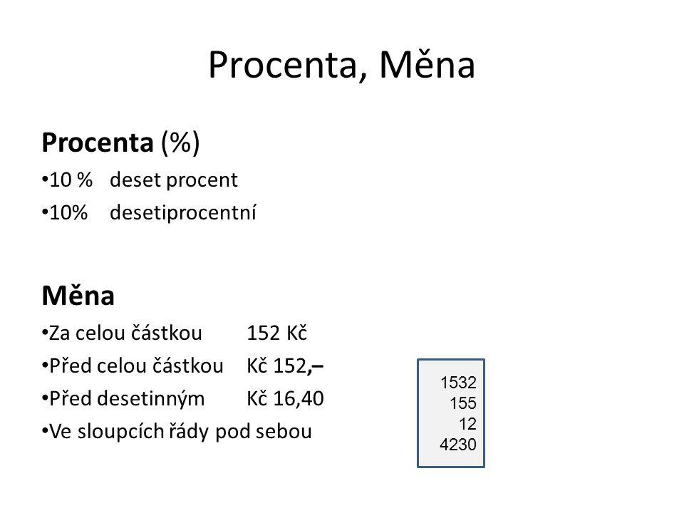 Procenta, Měna Procenta (%) 10 % deset procent 10% desetiprocentní Měna Za celou částkou 152 Kč Před celou částkou Kč 152,– Před desetinným Kč 16,40 V