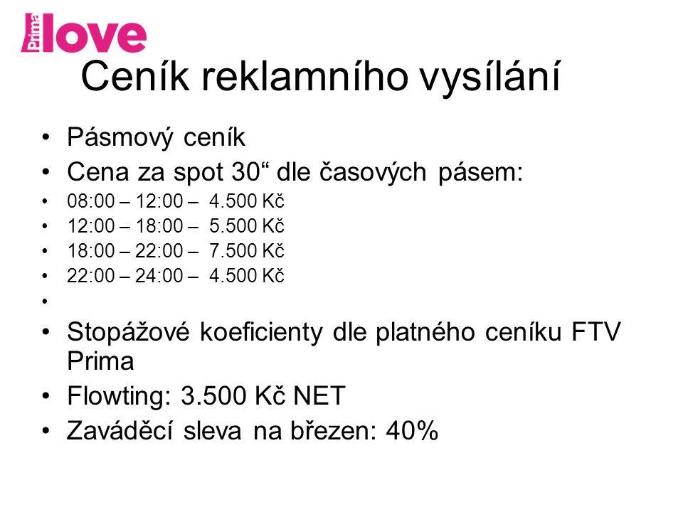 Ceník reklamního vysílání Pásmový ceník Cena za spot 30 dle časových pásem: 08:00 – 12:00 – 4.500 Kč 12:00 – 18:00 – 5.500 Kč 18:00 – 22:00 – 7.500 Kč 22:00 – 24:00 – 4.500 Kč Stopážové koeficienty dle platného ceníku FTV Prima Flowting: 3.500 Kč NET Zaváděcí sleva na březen: 40%