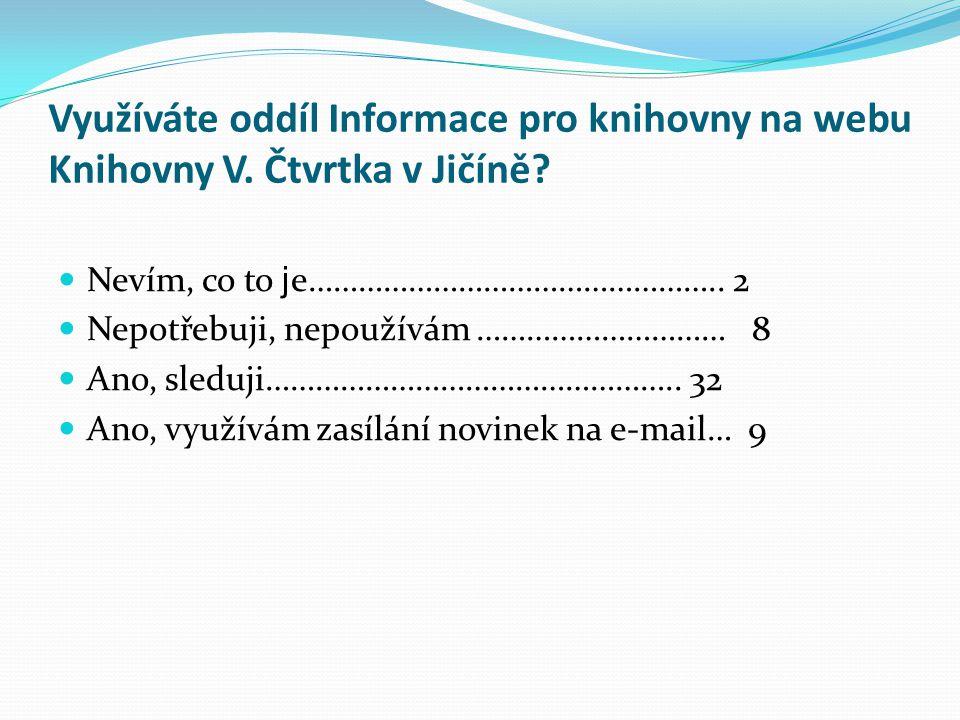 Využíváte oddíl Informace pro knihovny na webu Knihovny V. Čtvrtka v Jičíně? Nevím, co to j e………………………………………….. 2 Nepotřebuji, nepoužívám ………………………… 8