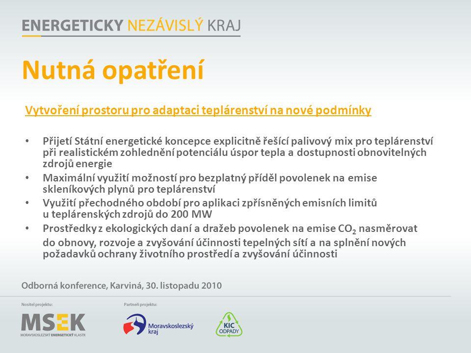 Nutná opatření Vytvoření prostoru pro adaptaci teplárenství na nové podmínky Přijetí Státní energetické koncepce explicitně řešící palivový mix pro te