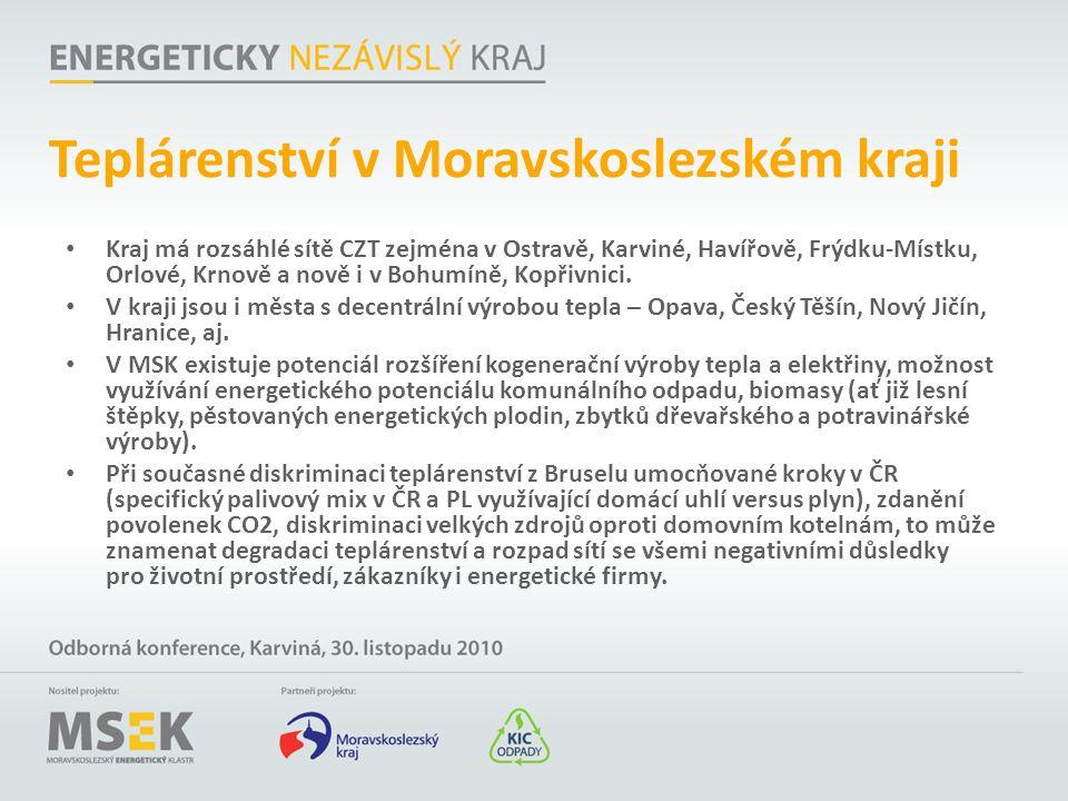 Teplárenství v Moravskoslezském kraji Kraj má rozsáhlé sítě CZT zejména v Ostravě, Karviné, Havířově, Frýdku-Místku, Orlové, Krnově a nově i v Bohumín