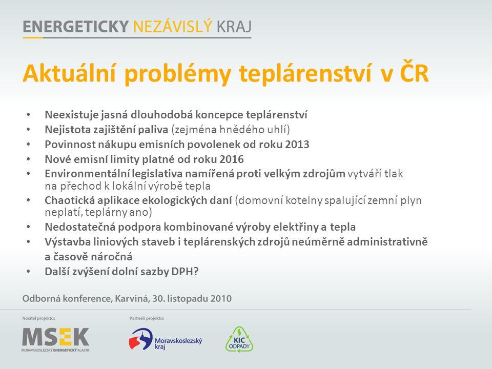 Aktuální problémy teplárenství v ČR Neexistuje jasná dlouhodobá koncepce teplárenství Nejistota zajištění paliva (zejména hnědého uhlí) Povinnost náku