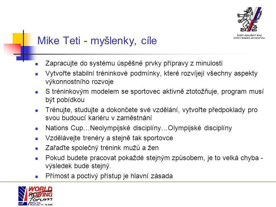 Mike Teti - myšlenky, cíle Zapracujte do systému úspěšné prvky přípravy z minulosti Vytvořte stabilní tréninkové podmínky, které rozvíjejí všechny aspekty výkonnostního rozvoje S tréninkovým modelem se sportovec aktivně ztotožňuje, program musí být pobídkou Trénujte, studujte a dokončete své vzdělání, vytvořte předpoklady pro svou budoucí kariéru v zaměstnání Nations Cup…Neolympijské disciplíny…Olympijské disciplíny Vzdělávejte trenéry a stejně tak sportovce Zařaďte společný trénink mužů a žen Pokud budete pracovat pokaždé stejným způsobem, je to velká chyba - výsledek bude stejný.