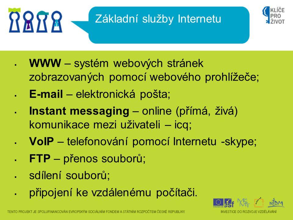  WWW – systém webových stránek zobrazovaných pomocí webového prohlížeče;  E-mail – elektronická pošta;  Instant messaging – online (přímá, živá) komunikace mezi uživateli – icq;  VoIP – telefonování pomocí Internetu -skype;  FTP – přenos souborů;  sdílení souborů;  připojení ke vzdálenému počítači.