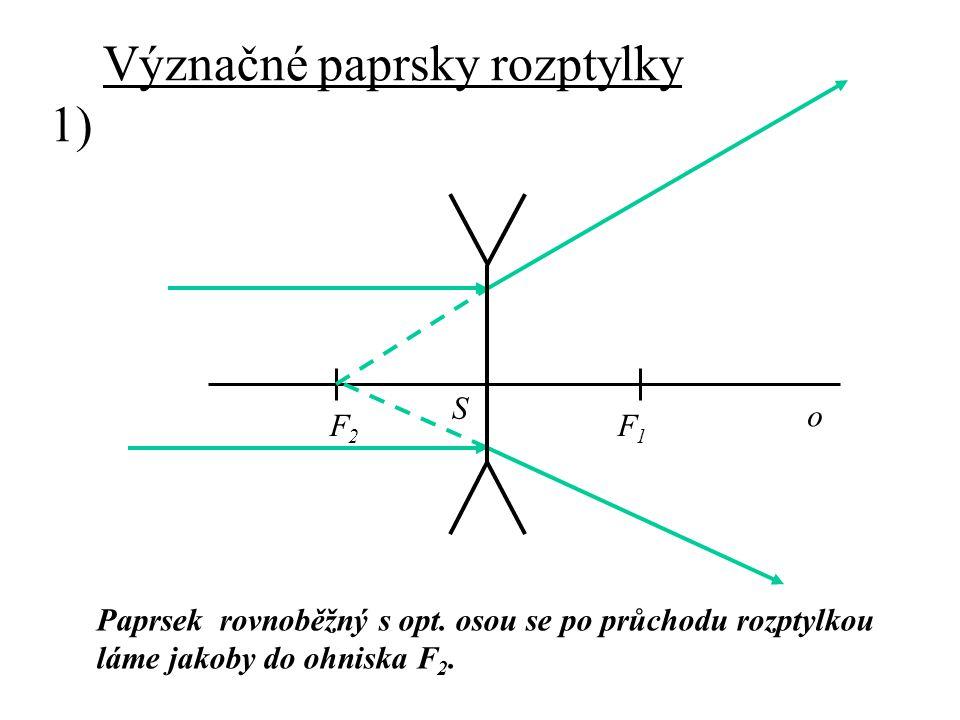 Význačné paprsky rozptylky 1) Paprsek rovnoběžný s opt. osou se po průchodu rozptylkou láme jakoby do ohniska F2.F2. F2F2 F1F1 o S